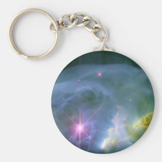 Expanding Bubble Basic Round Button Keychain