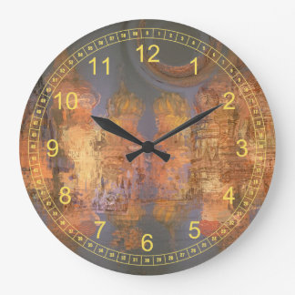 Expansion – Golden Shimmering City Dreams Wall Clock