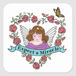 Expect a Miracle Square Sticker