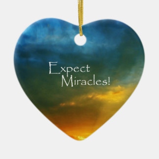 Expect Miracles! Double-Sided Heart Ceramic Christmas Ornament