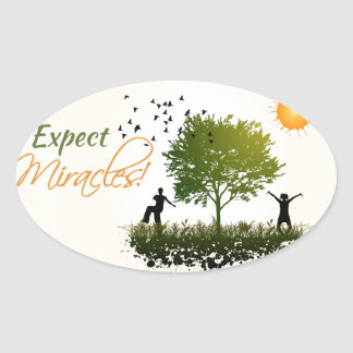 Expect Miracles Oval Sticker