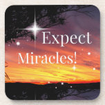 Expect Miracles Sparkle Sunset Inspirational Quote Beverage Coaster