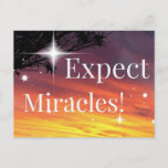 Expect Miracles Sparkle Sunset Inspirational Quote Postcard