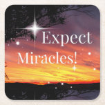 Expect Miracles Sparkle Sunset Inspirational Quote Square Paper Coaster