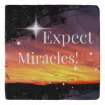 Expect Miracles Sparkle Sunset Inspirational Quote Trivet