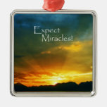 Expect Miracles! Square Metal Christmas Ornament