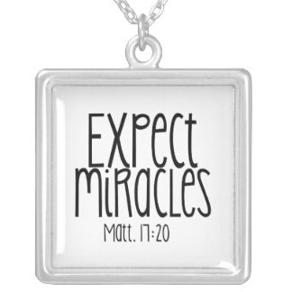 """Expect Miracles"" Square Necklace (Silver Plated)"