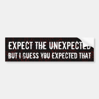 Expect the unexpected car bumper sticker
