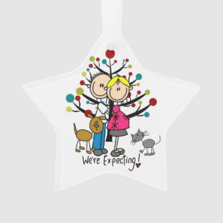 Expectant Couple, Dog, and Cat Acrylic Ornament