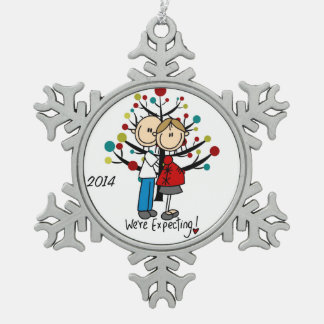 Expectant Couple Snowflake Ornament