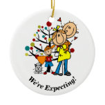 Expectant Couple, Toddler Boy, Cat Ornament