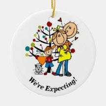 Expectant Couple, Toddler Boy, Cat Ornament