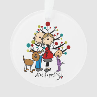 Expectant Couple Toddler Girl Dog Acrylic Ornament