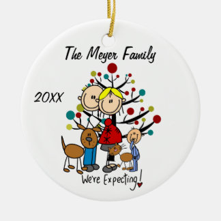 Expectant Couple with Boy, Dog, Cat Ornament