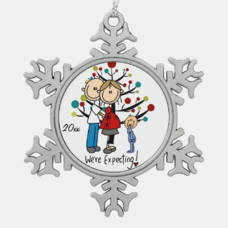 Expectant Couple With Boy Snowflake Ornament