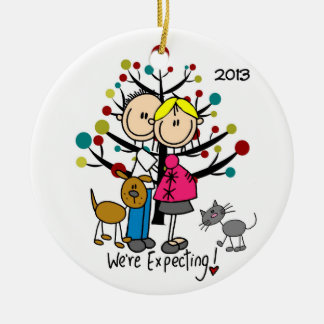 Expectant Couple With Cat and Dog Family Ornament