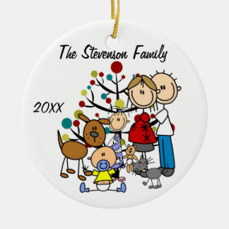 Expectant Couple With Girl, Boy, Dog, Cat Ornament