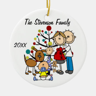 Expectant Couple With Girl, Boy, Dog Ornament