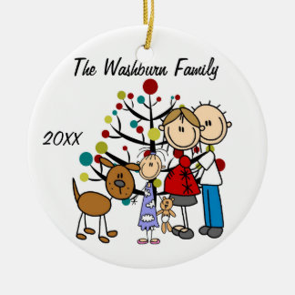 Expectant Couple With Girl, Cat, and Dog Ornament