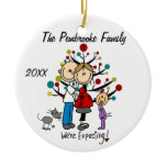 Expectant Couple with Toddler Girl/Cat Ornament