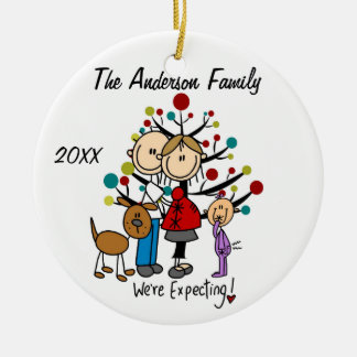 Expectant Couple with Toddler Girl /Dog Ornament