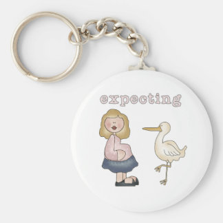 Expectant Mom and Stork Basic Round Button Keychain