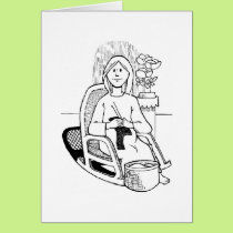 Expectant Mom Knitting for Baby, Card