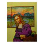 Expectant Mona Lisa Postcard