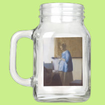 Expectant Mother Reading a Letter Mason Jar