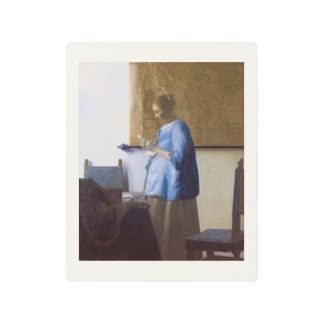 Expectant Mother Reading a Letter Metal Photo Print