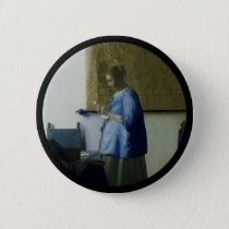 Expectant Mother Reading a Letter Pinback Button