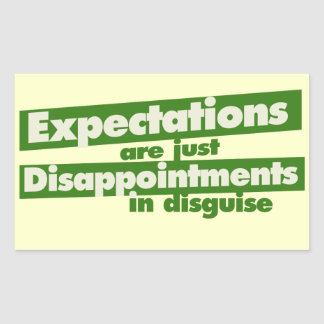 Expectation and just disappointments in disguise rectangular sticker