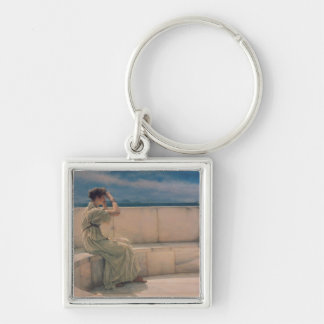 Expectations, 1885 (oil on canvas) Silver-Colored square keychain