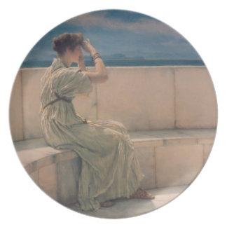 Expectations, 1885 (oil on canvas) melamine plate
