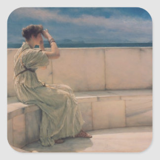 Expectations, 1885 (oil on canvas) square sticker