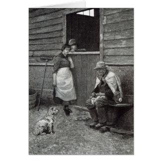 """Expectativa, a partir de la """"hora del ocio"""", 1888 tarjeta de felicitación"""