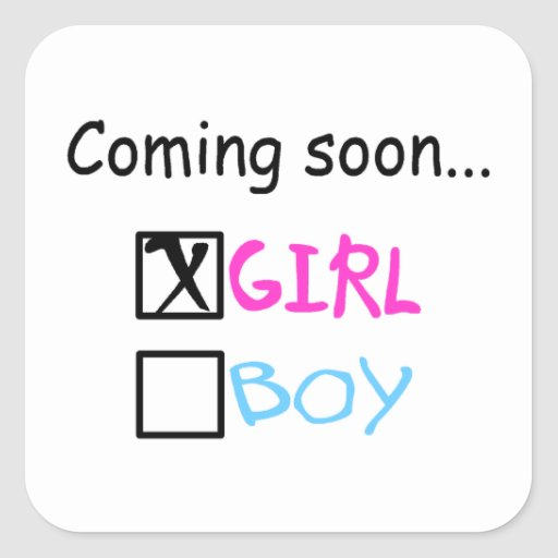 Expecting A Baby Girl Square Stickers