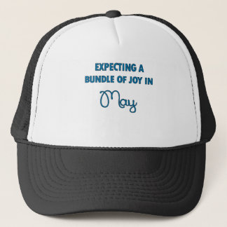 Expecting a bundle of joy in May  blue.png Trucker Hat