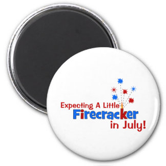 Expecting A Little Firecracker in July 2 Inch Round Magnet