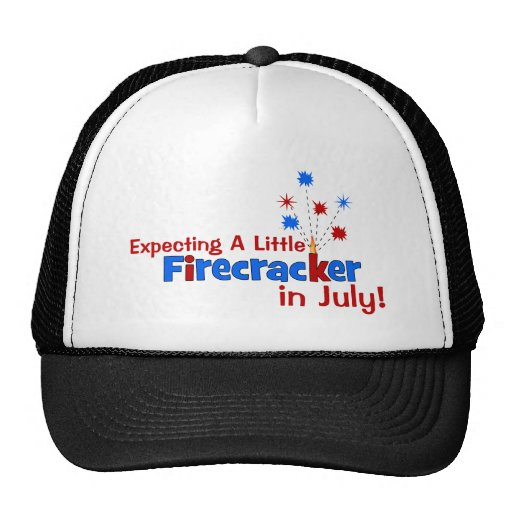 Expecting A Little Firecracker in July Mesh Hat