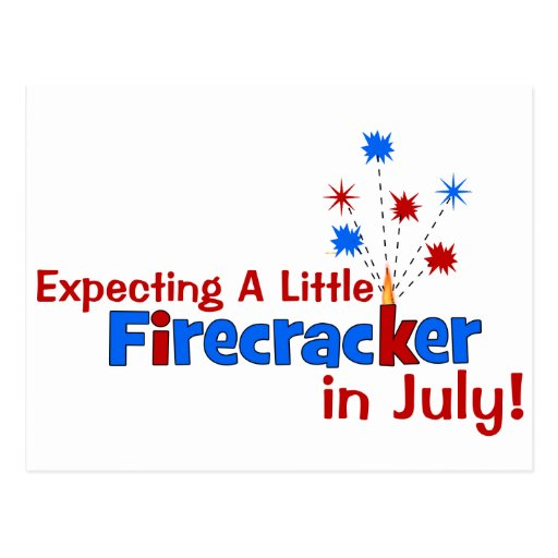 Expecting A Little Firecracker in July Postcard