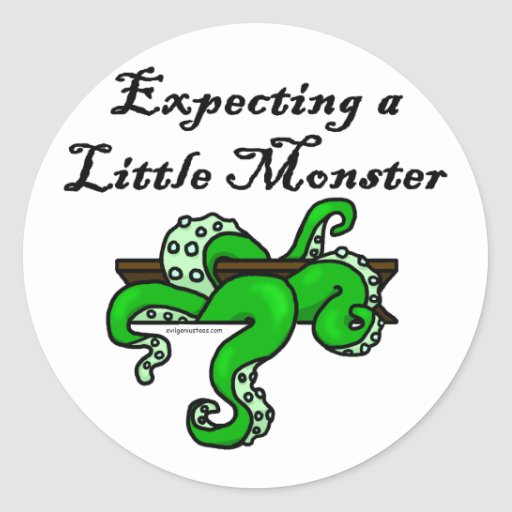 Expecting a little monster round stickers