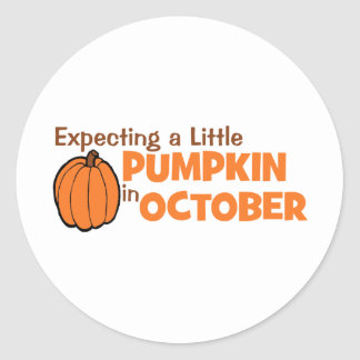 Expecting A Little Pumpkin In October Classic Round Sticker