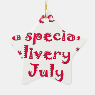 Expecting a special delivery in july ceramic ornament