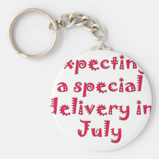 Expecting a special delivery in july basic round button keychain