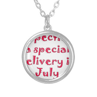 Expecting a special delivery in july silver plated necklace
