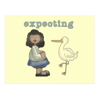 Expecting - African American Mom to Be and Stork Postcard