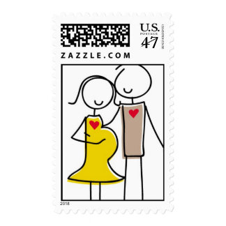 Expecting Couple Gender-Neutral Postage Stamp