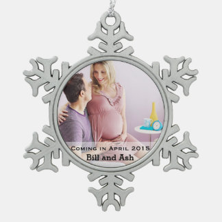 Expecting Couple Snowflake Pewter Christmas Ornament