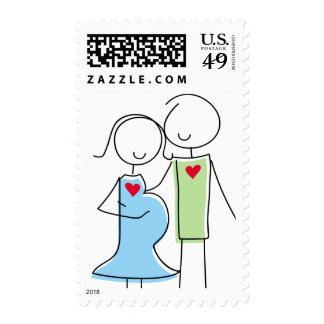 Expecting Couple Stamps, Blue and Green